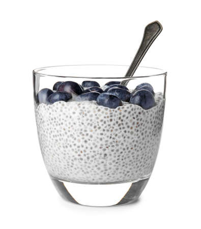 Photo pour Tasty chia seed pudding with blueberries in glass on white background - image libre de droit
