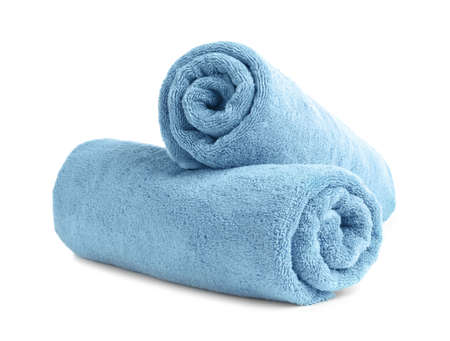 Foto de Rolled soft terry towels on white background - Imagen libre de derechos
