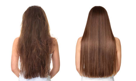 Photo pour Woman before and after hair treatment on white background - image libre de droit
