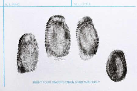 Photo pour Fingerprint record sheet, top view. Criminal investigation - image libre de droit