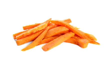 Photo for Tasty sweet potato fries on white background - Royalty Free Image