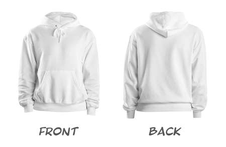 Photo pour Set of stylish hoodie sweater on white background, front and back view. Space for design - image libre de droit