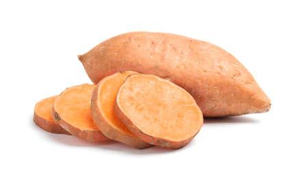 Photo for Fresh ripe sweet potatoes on white background - Royalty Free Image