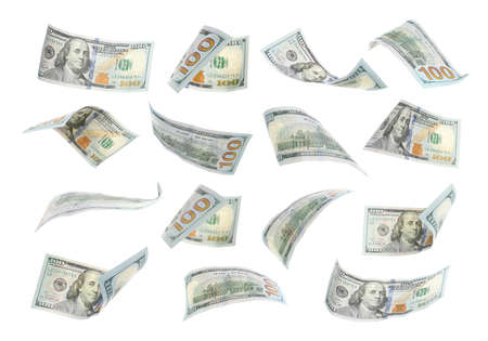 Photo pour Many flying American banknotes on white background - image libre de droit