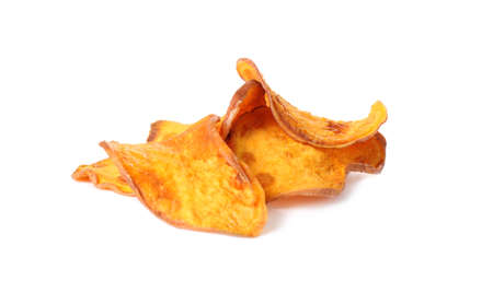 Photo for Pile of sweet potato chips isolated on white - Royalty Free Image