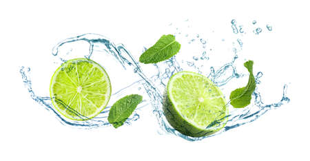 Photo pour Slices of juicy lime, fresh mint and splashing cold water on white background - image libre de droit