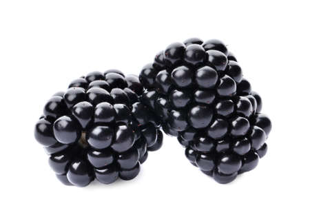 Photo for Tasty ripe juicy blackberries on white background - Royalty Free Image