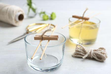 Foto de Process of making homemade candle on table - Imagen libre de derechos