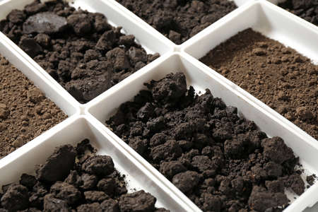 Foto de Containers with soil samples, closeup. Laboratory research - Imagen libre de derechos