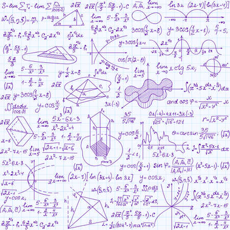 Illustration for Mathematical vector seamless texture with figures, equations and calculations. Endless math texture, handwritten on copybook paper sheet - Royalty Free Image