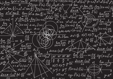 Ilustración de Endless mathematical texture with geometrical figures, plots and equations, handwritten with chalk on a grey blackboard. Mathematical vector seamless pattern - Imagen libre de derechos
