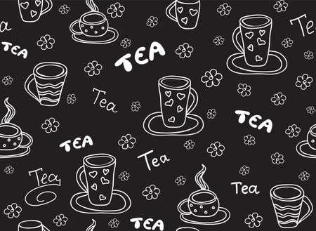 Ilustración de Food and beverage vector seamless pattern with tea cups and the words, handwritten by chalk on grey board effect - Imagen libre de derechos