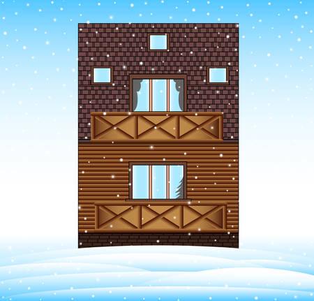 Illustration pour Winter house in the landscape with frozen snowhills, merry Christmas vector background - image libre de droit