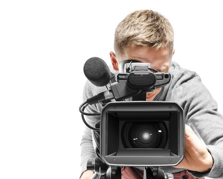 Photo for Video camera operator isolated on white background - Royalty Free Image