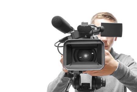 Foto de Video camera operator isolated on white background - Imagen libre de derechos