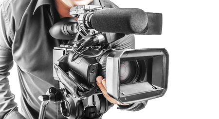 Foto de Video operator isolated on a white background - Imagen libre de derechos