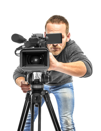 Photo for Video camera operator filmed. Isolated on white background. - Royalty Free Image