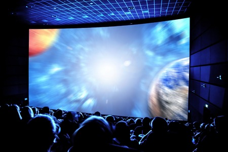 Photo pour Cinema. The audience in 3D glasses watching a movie. Elements of this image furnished by NASA. - image libre de droit