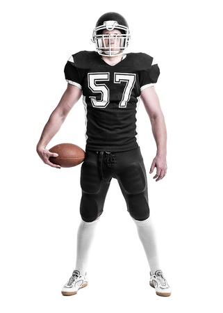 Foto de American football player  isolated on white background. - Imagen libre de derechos