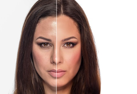 A womans portrait with retouched and without retouching is divided into half of the face.