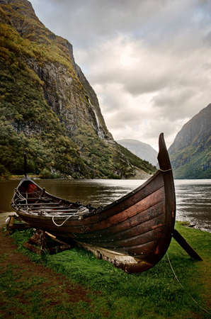 Photo for Old viking boat in Sognefjord, Norway - Royalty Free Image