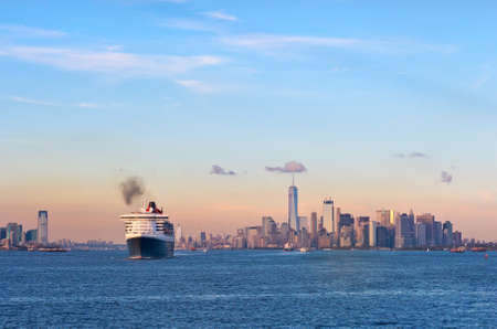 Photo for New York City, USA - October 11, 2016: Transatlantic ocean liner Queen Mary 2 in New York Harbor. - Royalty Free Image