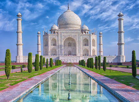 Photo for Taj Mahal at morning light with reflection in water in Agra, Uttar Pradesh, India - Royalty Free Image