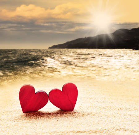 Photo for Two hearts on the beach - Royalty Free Image