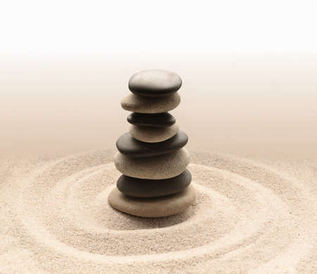 Photo for Balance and harmony in zen meditation garden relaxation and simplicity for concentration. Sand and stone. - Royalty Free Image