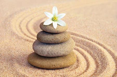 Foto de Spa concept. Flower and stones - Imagen libre de derechos