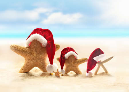 Foto de Starfish on summer beach and Santa hat. Merry Christmas. - Imagen libre de derechos