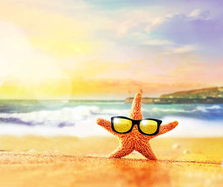 Photo pour Summer beach. Starfish in sunglasses on the seashore. - image libre de droit
