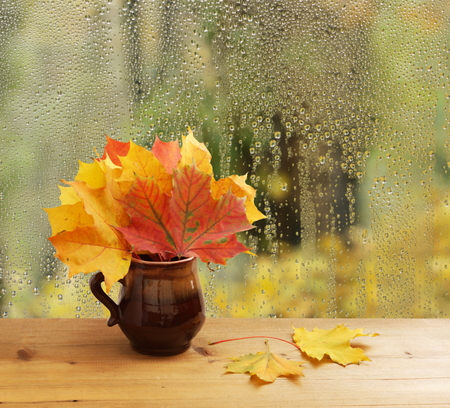 Bouquet of autumn leaves on window sill