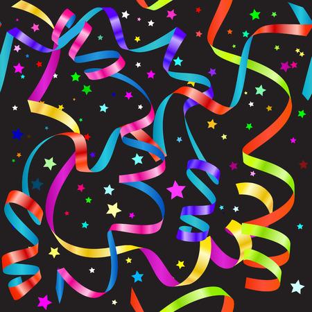Illustration pour Shiny gradient curling serpentine and confetti seamless pattern - image libre de droit