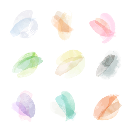 Ilustración de Watercolor hand painting stains. Vector illustration created with custom brushes, not auto-tracing - Imagen libre de derechos