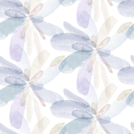 Ilustración de Seamless pattern of watercolor hand painting flowers. Vector illustration created with custom brushes, not auto-tracing. - Imagen libre de derechos