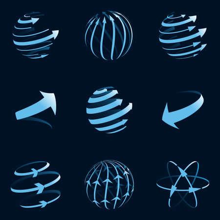 Foto de Global arrow icons. Vector illustration. - Imagen libre de derechos