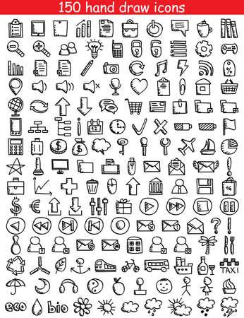 Illustration pour Set of 150 drawing icons for web and mobile  illustration  - image libre de droit