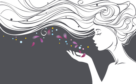 Illustration for Vector illustration with beautiful  long hair girl blows away flower petals from her palm - Royalty Free Image
