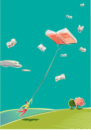 Illustration pour A young man is dragged from a book that flies high in the sky like a kite. - image libre de droit