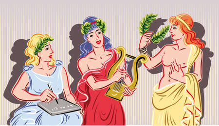 Illustration for Three of the nine classical Muses. The muse of literature, the muse of music and the muse of the theater - Royalty Free Image