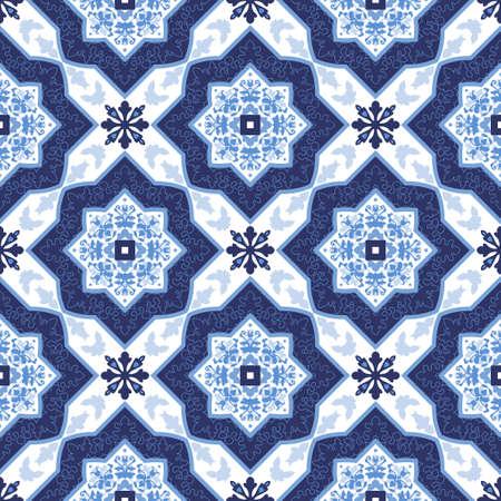 Ilustración de Portuguese azulejo tiles. Blue and white gorgeous seamless patterns. For scrapbooking, wallpaper, cases for smartphones, web background, print, surface textures. - Imagen libre de derechos