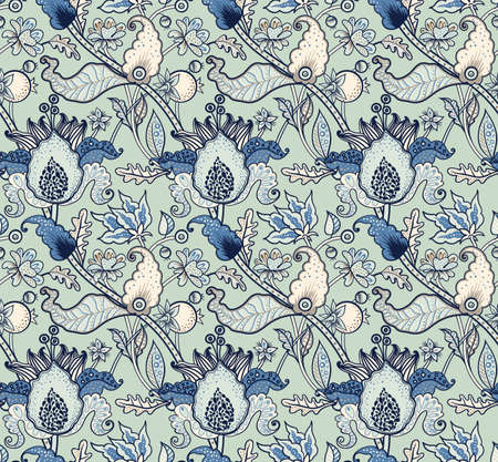 Ilustración de Indian National paisley ornament for cotton, linen fabrics. Tribal flowers seamless pattern. Bohemian ornament for taps. Texture for wrapping, skins smartphones, textile wallpapers, surface design - Imagen libre de derechos