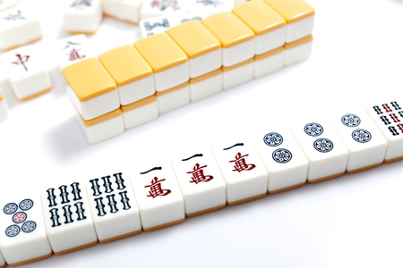 Photo for Mahjong pieces on white background - Royalty Free Image