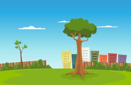 Illustration pour Illustration of a cartoon urban green park with cityscape behind - image libre de droit