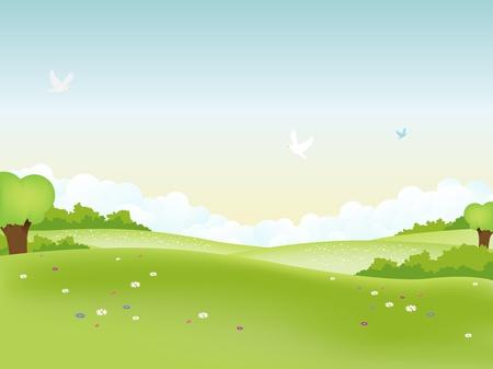 Illustration of easter landscape and seasonal summer or spring poster