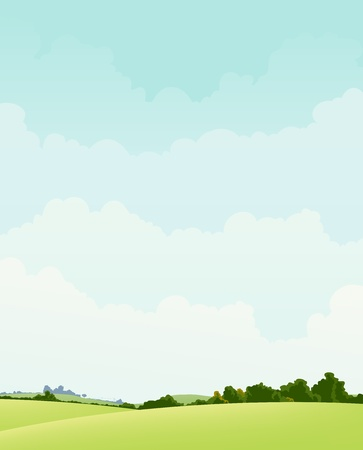 Illustration of a spring or autumn, or summer landscape season poster background