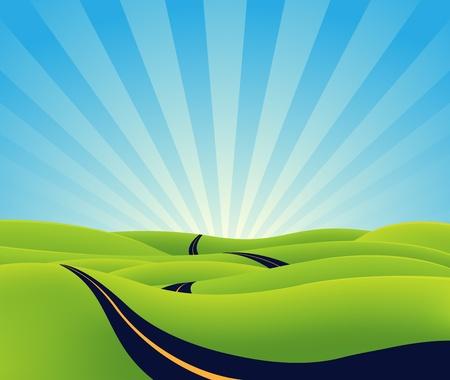 Illustration pour Illustration of a cartoon long road going towards horizon, symbolizing lenght, time,  eternity or spiritual purpose - image libre de droit