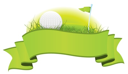 Illustration of a green golf banner with imagery elements of this sport, ball, flag and  putting green