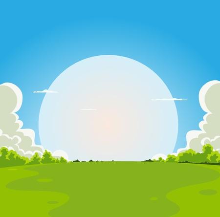 Illustration pour Illustration of a cartoon moon rising under spring fields landscape - image libre de droit